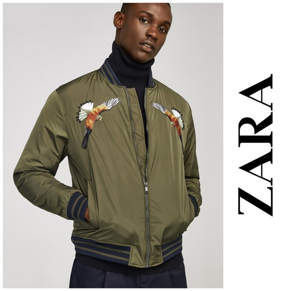 5c0416897 NWT, Zara Man, Bird Embroidered Bomber Jacket NWT